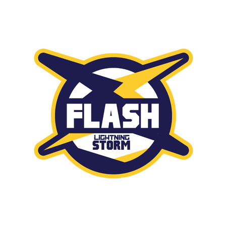 Flash lightning storm logo template, company identity label, business badge vector Illustration on a white background