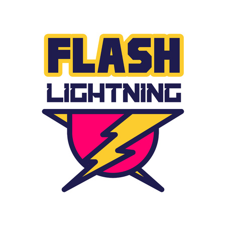 Flash lightning logo, badge with lightning symbol, design element for company identity vector Illustration on a white background