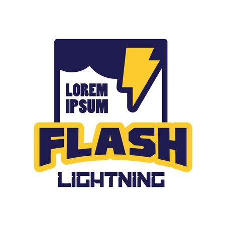 Flash lightning logo, badge with lightning symbol, design element for company identity vector Illustration Illustration