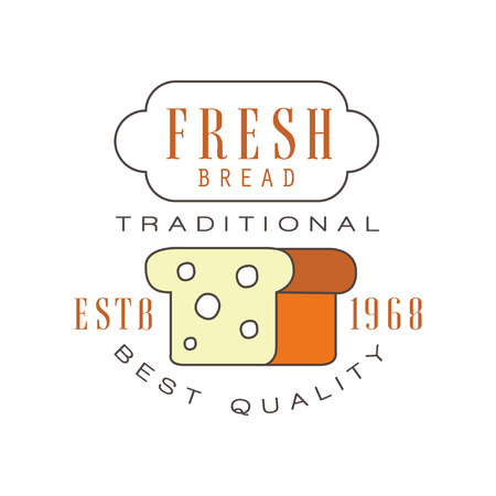Fresh bread, traditional best quality logo, estd 1968, bakery badge retro food label design vector Illustration Illustration