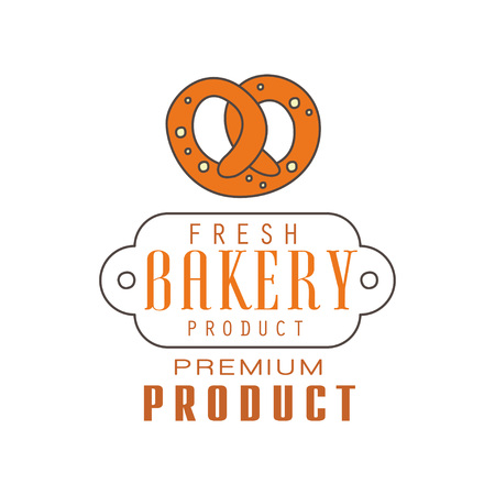 Fresh bakery product, premium product logo template, bread shop badge retro food label design vector Illustration on a white background Illustration