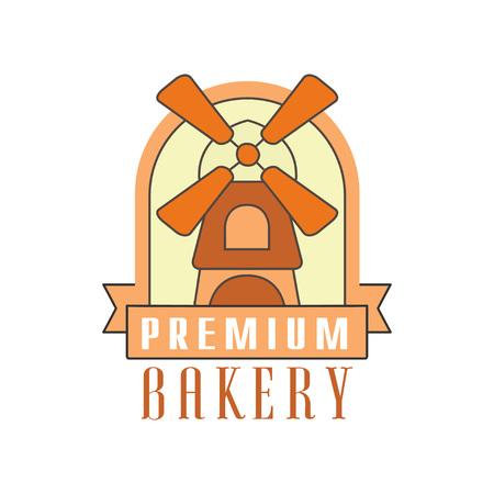Premium bakery logo template, bread shop badge retro food label design vector Illustration