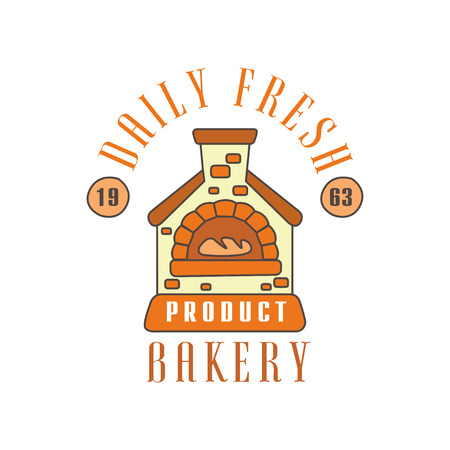 Daily fresh bakery product logo template, estd 1963, bread shop badge retro food label design vector Illustration Illustration