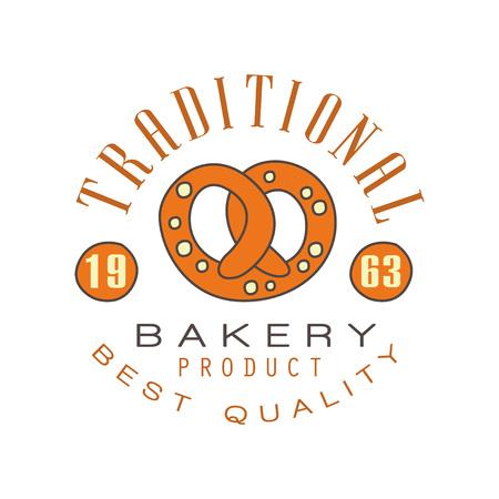 Traditional bakery product, best quality logo template, estd 1963, bread shop badge retro food label design vector Illustration Illustration