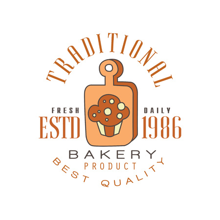 Traditional bakery product, best quality logo template, estd 1986, bread shop badge retro food label design vector Illustration