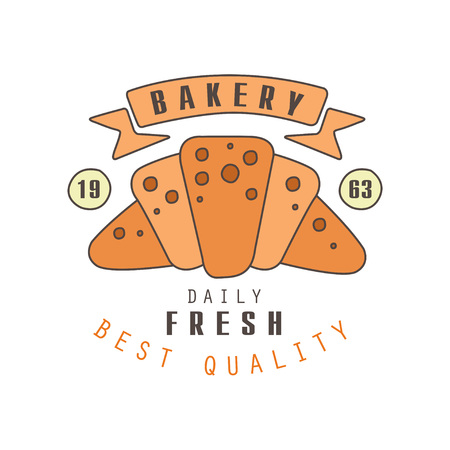 Bakery, daily fresh, best quality logo template, estd 1963, bread shop badge retro food label design vector Illustration Stock Vector - 93968880