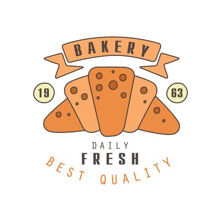 Bakery, daily fresh, best quality logo template, estd 1963, bread shop badge retro food label design vector Illustration Illustration