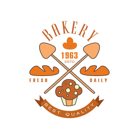 Bakery, fresh daily, best quality logo template, estd 1963, bread shop badge retro food label design vector Illustration Illustration