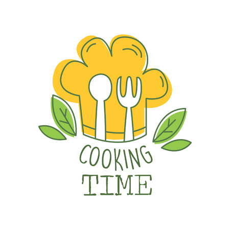 Culinary hand drawn icon original design with green leaves, orange chef s hat, fork and spoon. Abstract creative cooking time lettering. Line label for cafe, food studio, restaurant. Vector on white.