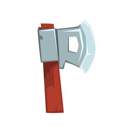 Cartoon letter P formed by ax with wooden handle. Original character in flat style. English alphabet concept. Vector design for mobile game, poster or print Ilustração