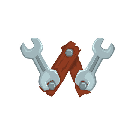 Creative letter W made of two wooden boards fastened with screw-nuts and two wrench keys. Cartoon font in flat style. Design for web icon, placard, mobile game. Vector illustration isolated on white. Illustration