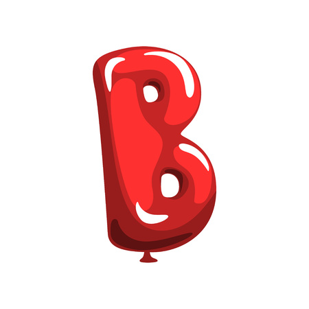 Illustration of letter B in shape of glossy red balloon. Funny education. Cartoon alphabet font for kids. Flat vector isolated on white background. Design for festival poster, promo flyer or postcard
