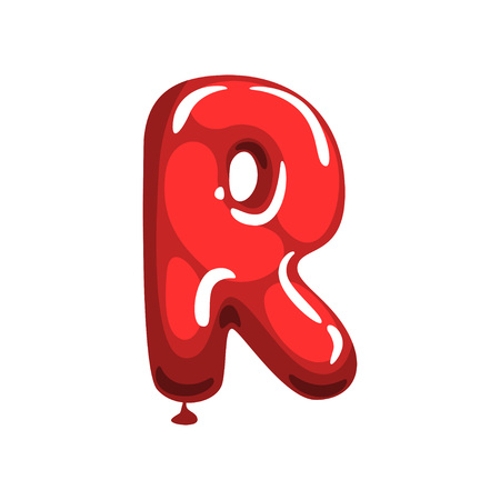 Cartoon letter R made of red air balloon. Original English alphabet font. Funny education card. Vector illustration isolated on white background. Flat graphic design for magnet, postcard or poster.