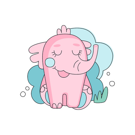 青いふわふわの雲の背景に対して目を閉じて座っているかわいい手描きピンクの象。生地の印刷物、はがきまたはステッカーのための線形の設計。