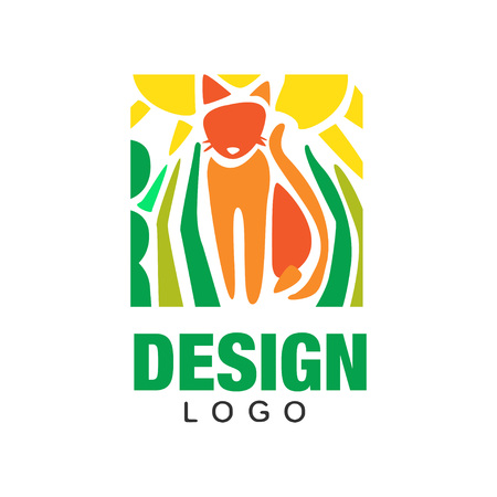 Abstract silhouette of orange cat, green plants and sun. Colorful flat emblem. Children hand drawing style. Isolated vector design for card, banner or zoo store