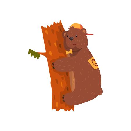 Lächelnder wilder Bär, der Baumstamm umarmt. Karikaturtier mit braunem Pelz, den kleinen gerundeten Ohren und den Tatzen mit den Greifern. Grizzly in Mütze und Fliege. Flacher Vektor für Aufkleber, Postkarte, Buch Standard-Bild - 94142218