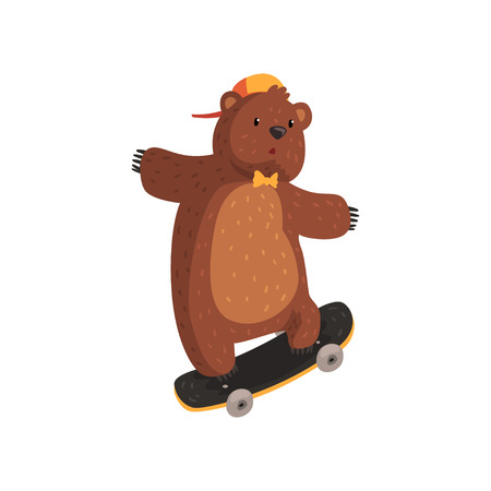 Funny teen bear in orange cap and bow tie doing kickflip trick on skateboard. Extreme sport. Cartoon wild animal with brown fur, small ears and paws with claws. Flat vector Illustration