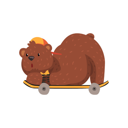 Skateboarder bear riding on skateboard in lying position. Cartoon character of wild animal with brown fur, small rounded ears and paws with claws. Grizzly in orange cap and bow tie. Flat vector design.