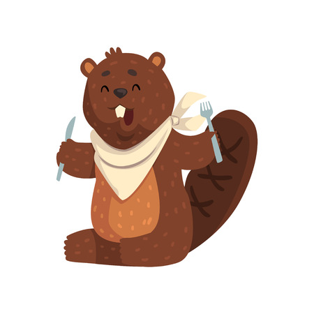 Cartoon beaver with fork and knife in paws, ready to eat. Cheerful forest rodent with big teeth, little ears and shaped tail. Wild animal. Flat vector design