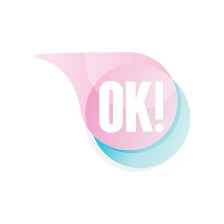 Transparante tekstballon met tekst OK. Pictogram in kleurovergang roze en blauwe kleur. Vector ontwerpelement voor mobiel chatten, messenger of sociale netwerksticker