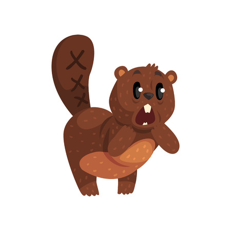Shocked little beaver standing isolated on white background. Cartoon wild animal character with brown fur, big white teeth, shaped tail and little ears. Flat vector design for social media sticker.