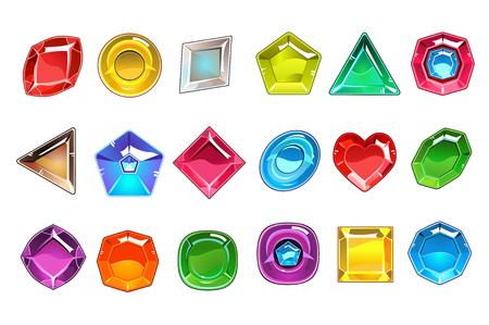 Grande coleção de pedras valiosas coloridas em diferentes formas. Quadrado, redondo, em forma de pêra, triangular, losango e coração. Ícones brilhantes pedras preciosas. Desenho vetorial plana Ilustración de vector