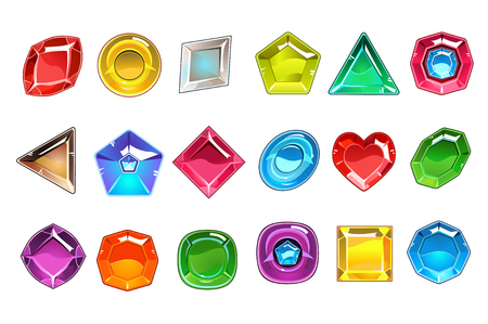 Big collection of colorful valuable stones in different shapes. Square, round, pear shaped, triangular, rhombus and heart. Bright gemstones icons. Flat vector design