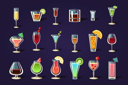 Platte vector set met verschillende transparante glazen en cocktails. Verfrissende zomerdrankjes. Lekkere alcoholische dranken met parasols en fruit