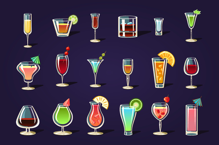 Flat vector set with different transparent glasses and cocktails. Refreshing summer drinks. Tasty alcoholic beverages with umbrellas and fruits Illustration
