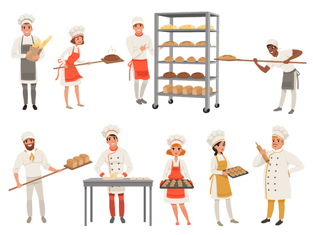 Bakers characters set with bread and cooking tools. Happy people in aprons and hats, young men and women in uniform working in bakery. Vector isolated on white.