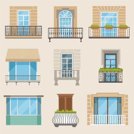 Set of colorful beautiful balconies. Vintage, modern and decorative forged balconies. Flat vector illustrations, architecture exterior building design element. Stock Illustratie