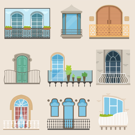 Detailed balcony set in different styles. Classical, modern and decorative forged balconies. Flat cartoon vector, isolated architecture building elements