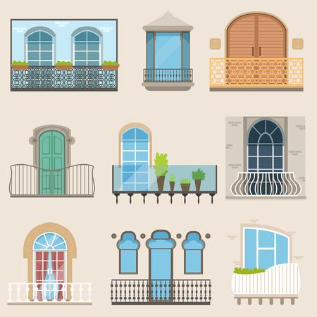 Gedetailleerd balkon in verschillende stijlen. Klassieke, moderne en decoratieve gesmede balkons. Platte cartoon vector, geïsoleerde architectuur bouwelementen Vector Illustratie