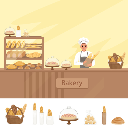 Bakery shop illustration with baker character next to a showcase with pastries. Young man in uniform, hat and apron standing behind the counter. Vector store background with design elements set. Illustration