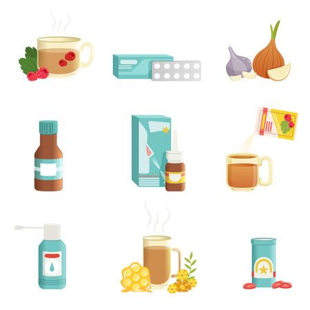Griep pictogrammen instellen. Alternatieve en traditionele behandelingen. Thee met frambozen, pillen, uien, siroop, neusdruppels, drinken met kruiden en honing, keelspray. Platte vector