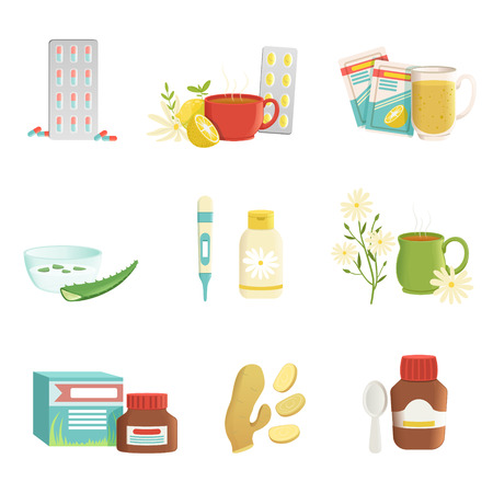 Icon set of cold and flu treatment objects. Tablets, tea with lemon and herbs, thermometer, ginger root, vitamins, aloe, syrup. Healthcare concept. Flat vector design