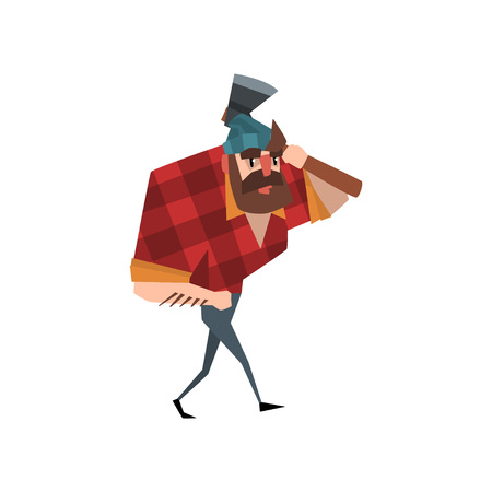 Cartoon lumberjack character walking with hand in pocket and axe on shoulder. Strong bearded man dressed in red checkered shirt, blue jeans and hat. Flat vector design isolated on white background.