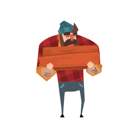 Strong lumberjack with beard in red plaid shirt, blue jeans and hat holding stack of firewood in hands. Cheerful woodcutter character. Forest worker. Flat vector design