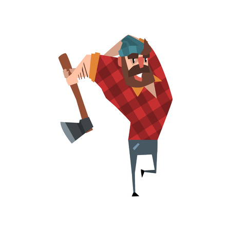 Strong woodcutter swinging an ax. Bearded lumberjack. Cartoon man character in red plaid shirt blue jeans and hat. Forest worker. Colorful flat vector design