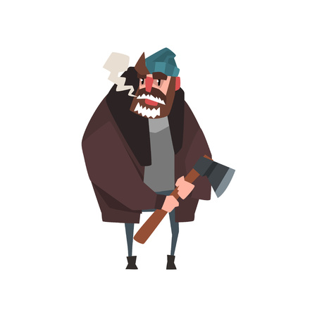 Woodcutter character standing with axe in hand. Lumberjack in sweater, warm jacket, hat and jeans. Cartoon man character with frozen beard. Flat vector design