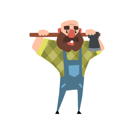 Cartoon character of bearded man with axe. Funny bald woodcutter. Smiling man in blue coveralls and green checkered shirt. Colorful vector illustration in flat style isolated on white background.