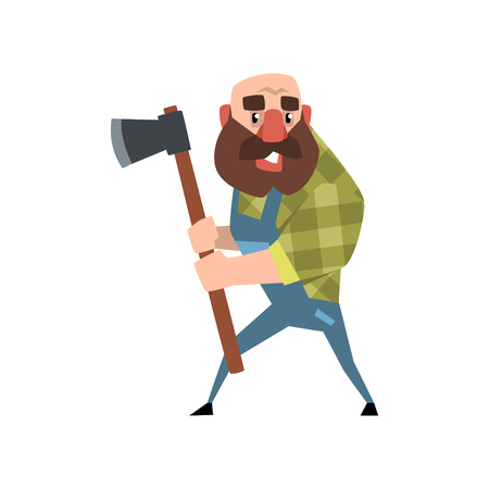 Funny bald lumberjack posing with his axe. Cartoon bearded man in green checkered shirt and blue coveralls. Forest worker. Woodcutter in flat style. Vector illustration isolated on white background.