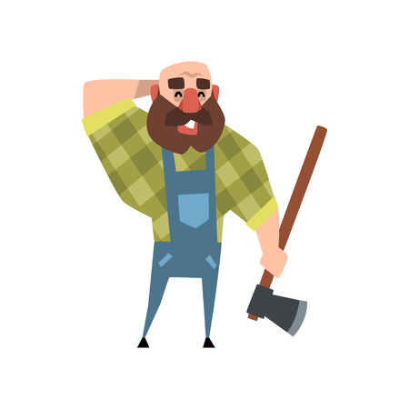 Smiling lumberjack holding axe, other hand at back of his bald head. Cartoon bearded man character in blue coveralls and green checkered shirt. Colorful flat vector illustration isolated on white. Illustration