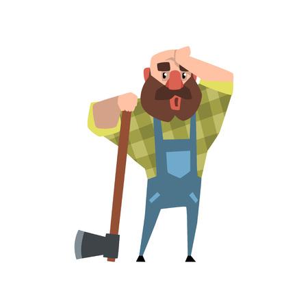 도끼에 기대어 그의 손으로 그의 이마를 문질러서 피곤한 등심. 만화 대머리 남자 캐릭터 녹색 바둑판 무늬 셔츠와 파란색 작업복. 플랫 벡터 일러스트 일러스트