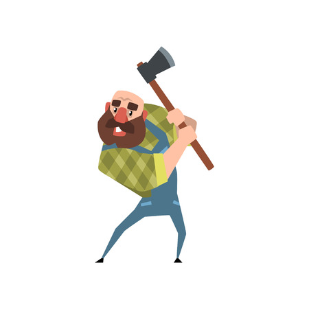Strong bearded woodcutter working with axe. Funny bald lumberjack. Cartoon man character in green checkered shirt and blue coveralls. Colorful flat vector illustration isolated on white background.