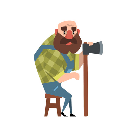 Bald forest man sitting on wooden chair and holding axe. Cartoon character of bearded lumberjack wearing green checkered shirt and blue coveralls. Flat vector illustration isolated on white background