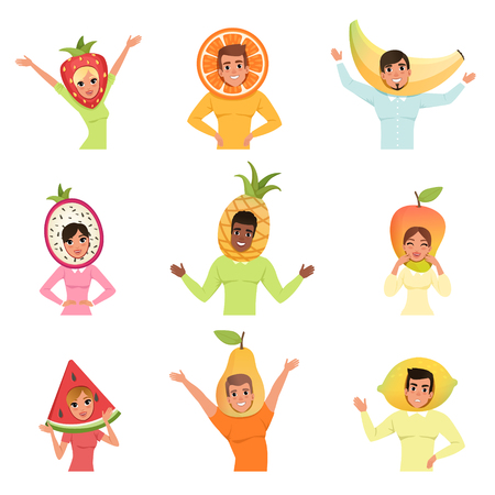 Collection of men and women wearing different fruit hats. Strawberry, orange, banana, pitaya, pineapple, mango, watermelon, pear and lemon. Cartoon people characters. Isolated flat vector illustration