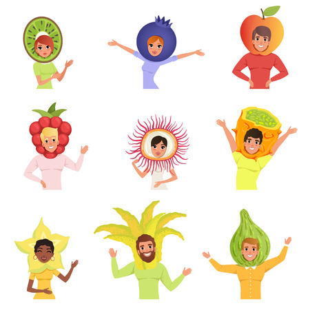 Set of happy people in various fruit hats. Kiwi, blueberry, apple, raspberry, carambola, horned melon, rambutan, feijoa. Cartoon men and women characters. Flat vector illustration isolated on white. Illustration
