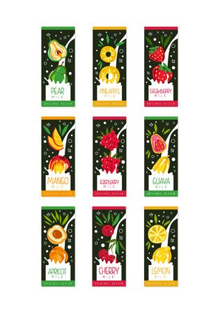 Colorful set of emblems with fruits and berries in milk splashes. 9 various tastes pear, pineapple, strawberry, mango, raspberry, guava, apricot, cherry, lemon. Flat vector product package design.