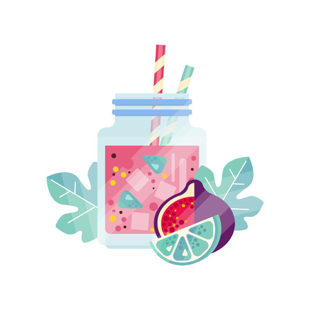 Glass jars with sweet refreshing drink. Delicious summer juice with ice cubes and drinking straws. Organic and healthy smoothie. Design for vegan cafe menu. Flat vector isolated on white background.
